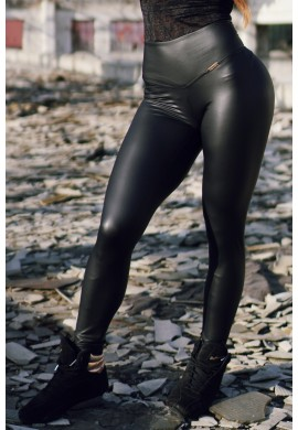 KARMA Leather Effect Black Leggings BSTL1 - Beyond by ST