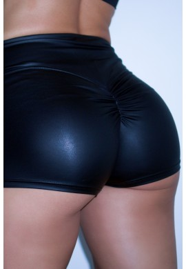 KARMA Leather Effect Black Shorts BSTH1 - Beyond by ST